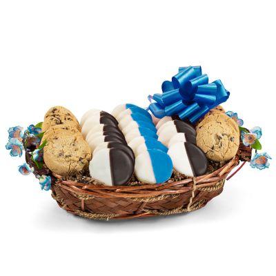 Hanukkah Greetings Cookie Gift Basket - Blue & White