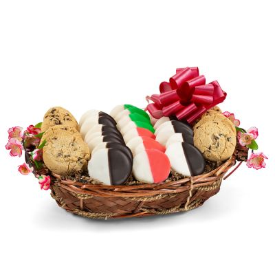 Holiday Greetings Cookie Gift Basket - Red, White & Green