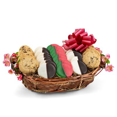 Holiday Greetings Cookie Gift Basket - Red & Green