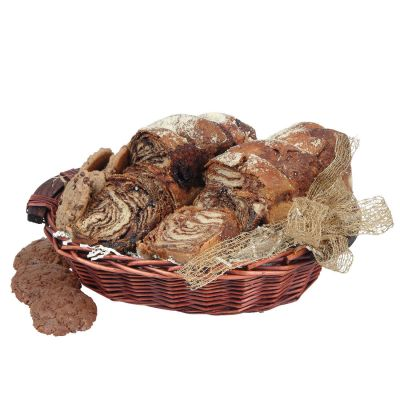 Holiday Greetings In A Chocolate And Cinnamon Gourmet Food Gift Basket